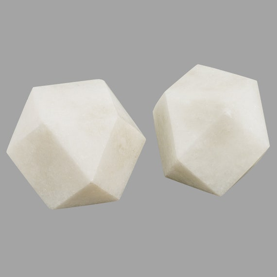 Handmade Marble Paper Weight Polyhedron Shape Vintage Positive Energy Set of 2