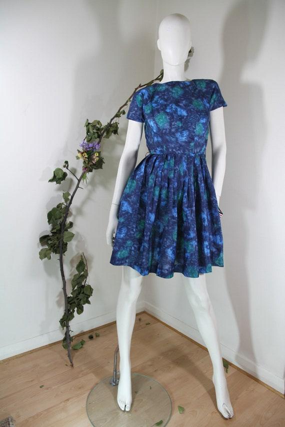 Mottled Blue Rayon Dress