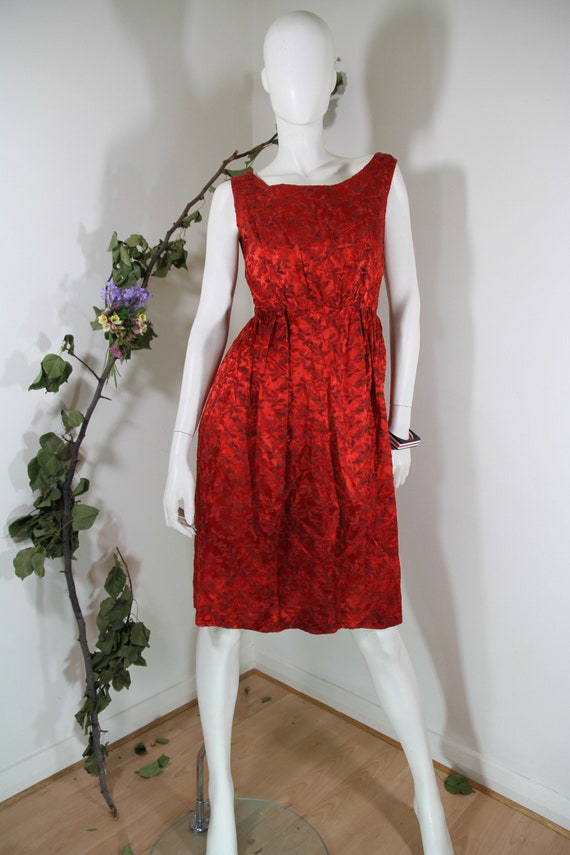 Scarlet Red Damask 50s Dress