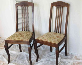 PAAR antique chair with fabric upholstery, solid oak; PAIR of antique chair with fabric seat solid oak wood ; german Brocante; Vintage
