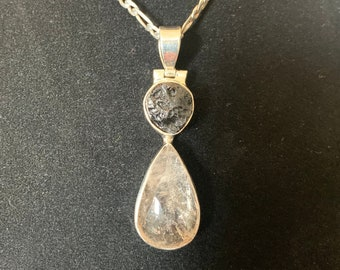 Double Terminating Point 40mm CrystalAge Fluorite /& Silver Pendant