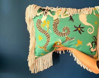 Pierre Frey luxury decorative home cover cushion fantasy poseidon printed cotton copricuscino regalo gift present wedding favour B