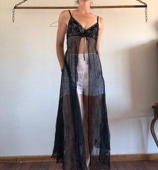 PETRA FASHIONS full length black lace sheer babydoll