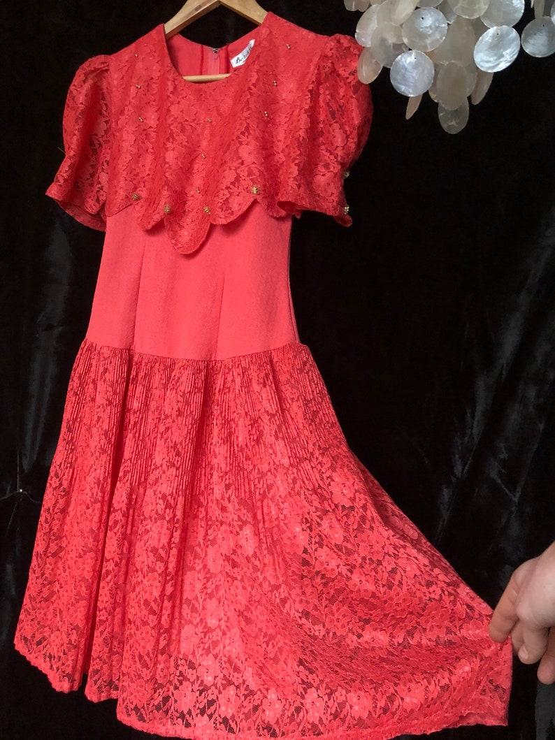 1960s Borissi Vistas Scallop Red Lace Dress