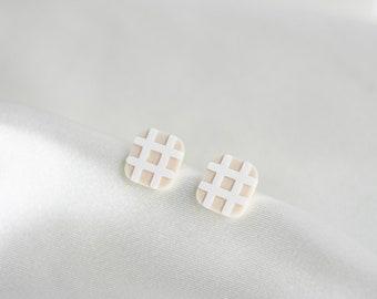 Grid Studs - 3D Printed Earrings