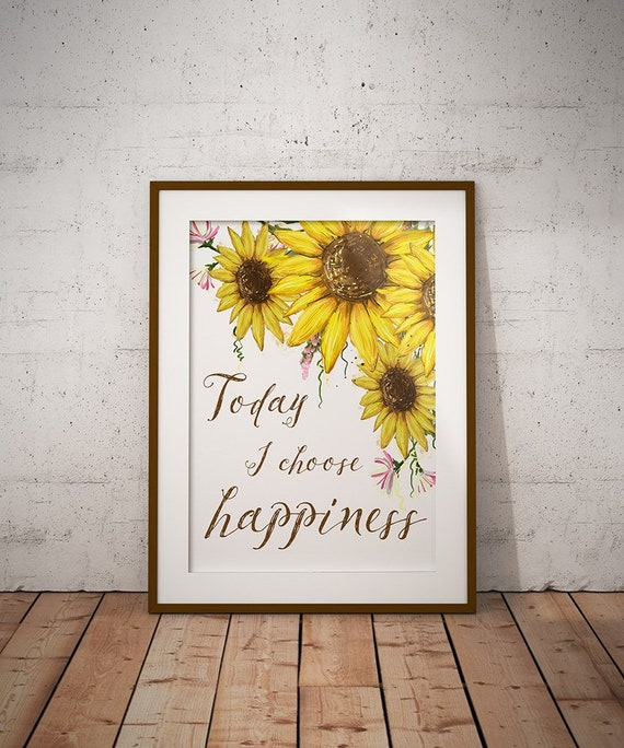 Home Decor Motivation Quotes Printable Sunflowers Yellow Wall Etsy