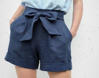 92326709e4 Linen Shorts / Shorts with bow / Woman Shorts with pockets / High wasted  linen shorts / Vacation shorts / Summer shorts / Skorts/ SHORTS #16