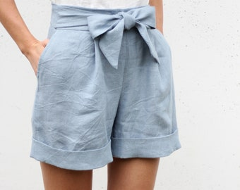 0d563cdcb3d Linen Shorts   Shorts with bow   Woman Shorts with pockets   High wasted linen  shorts   Vacation shorts   Summer shorts   Skorts  SHORTS  16