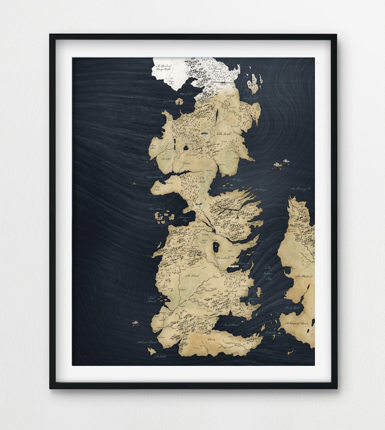 Game of Thrones Map Game of Thrones Poster Game of Thrones | Etsy Map Of Game Thrones Poster on