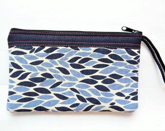 2b05e86e4 Thailand Thai Small Leaf Leave Pencil Blue Black White Cotton Fabric Bag  Purse Zipper Gift Purse Handle Case Handmade Craft All Purpose …