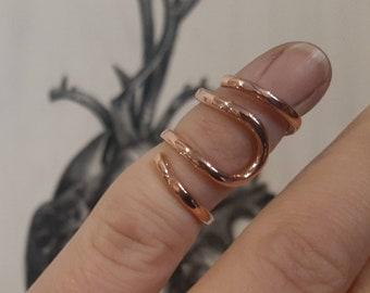 Arthritis finger splint for bending sideways lateral deviation sterling  silver 925, brass or copper ring for Ehlers Danols, EDS