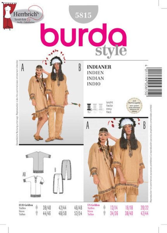 b8c2da954523 Burda Schnittmuster 5815 Indianer Kostüm Herren Da   Etsy