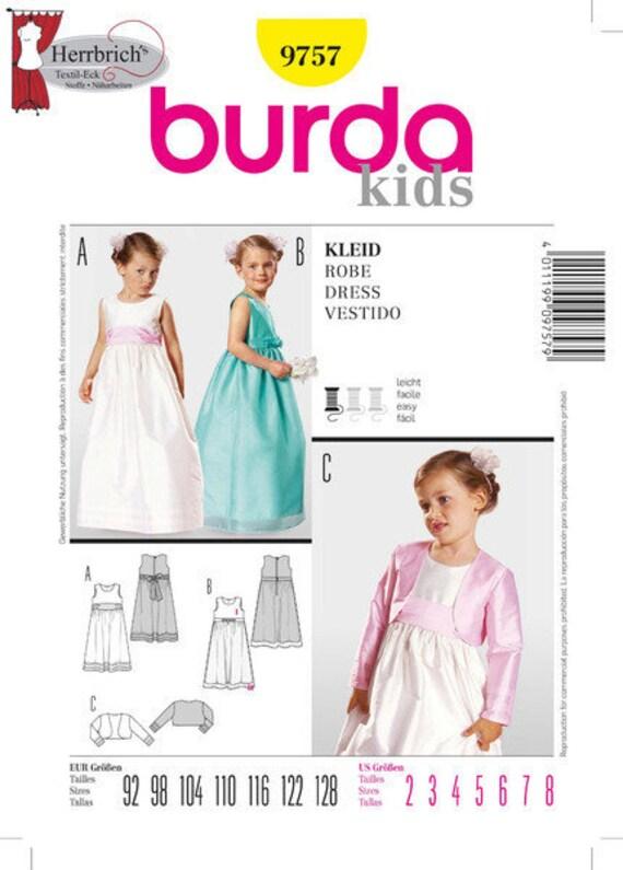Burda Schnittmuster 9757 Festliches Mädchen Kleid | Etsy