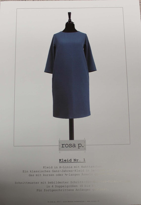 Rosa P. Papierschnittmuster Kleid Nr. 1   Etsy