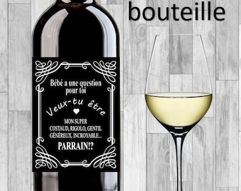 Label for bottle of wine, champagne, request of godfather or godmother