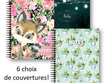 Notebook 8.5'' x 11'', 100 lined pages, 6 covers