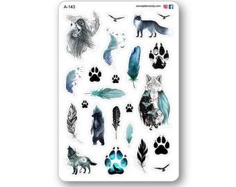 Wolf stickers, blue