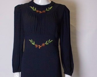 A Vintage dark navy Blue 1940s floral embroidered Day Dress