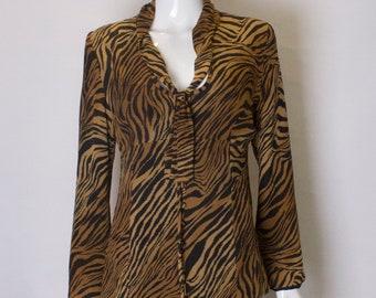 61c20e70d4 A Vintage 1990s Caroline Charles Animal Print tiger Blouse