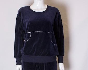 95228752aa A Vintage navy velvet Sonia Rykiel Leisure / track Suit