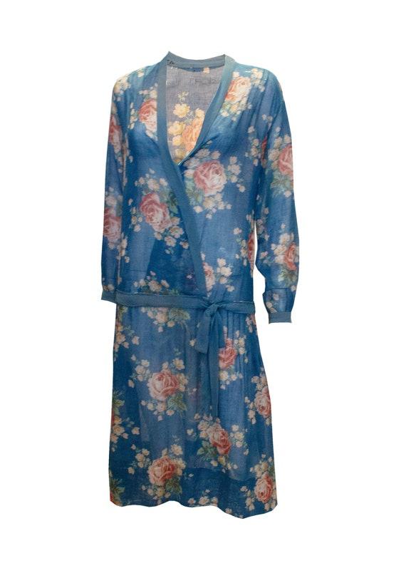 Vintage 1920 Blue Floral Drop Waist Dress