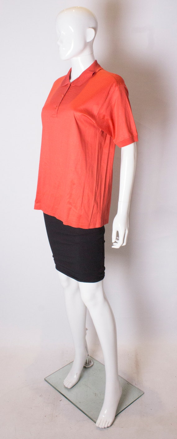 A Vintage 1990s orange Celine Polo Shirt - image 3