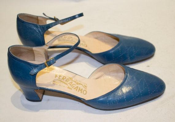 A pair Vintage 1980s Blue Leather Ferragamo Shoes