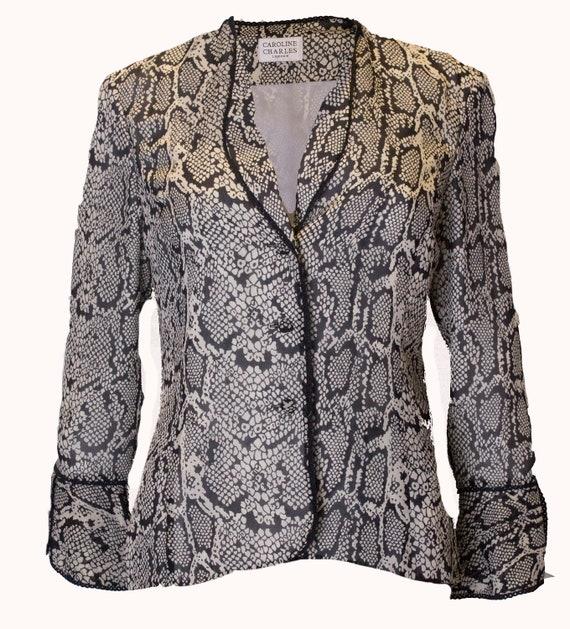 Vintage Silk Snakeskin print Jacket /top - image 2