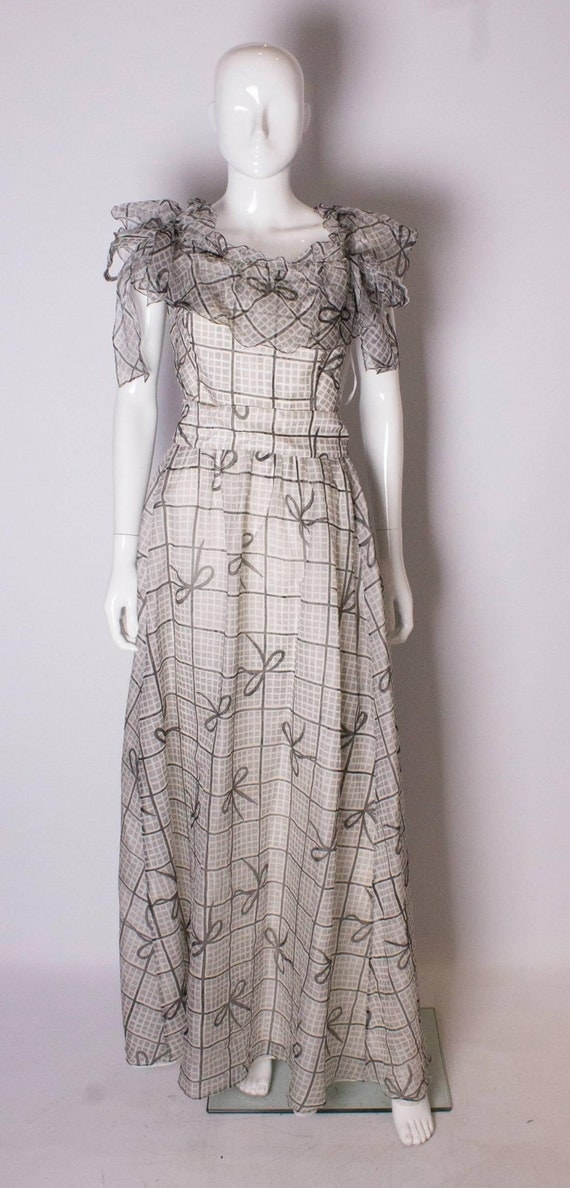 A Vintage 1970s grey printed silk evening gown by… - image 2