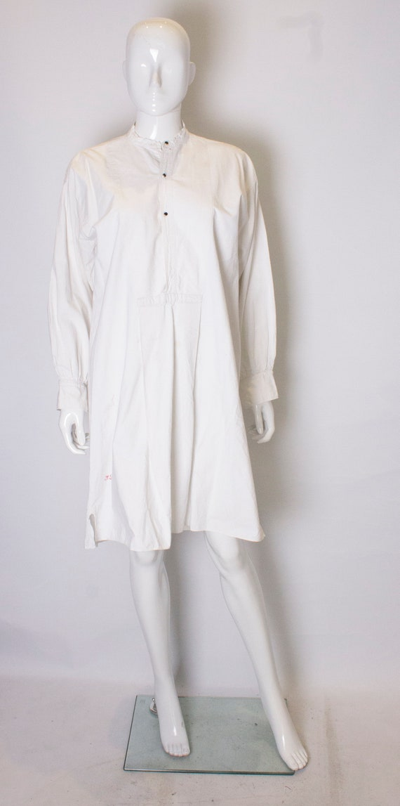 A Vintage 1920s white Cotton Shirt Dress