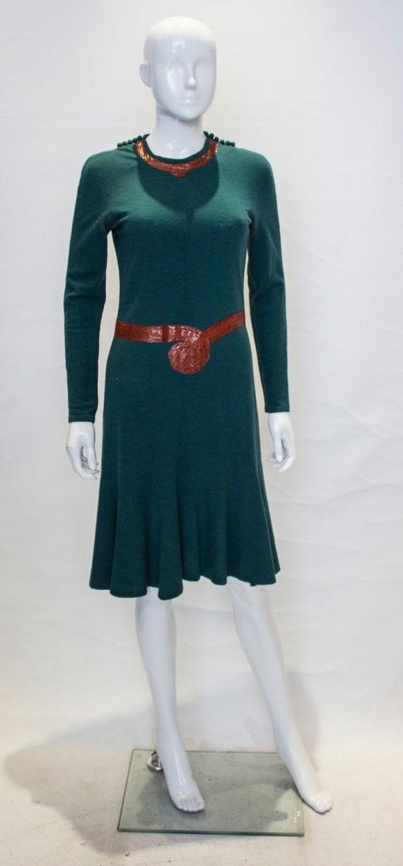 A Vintage 1970s Jean Muir Wool and Snakeskin Dress