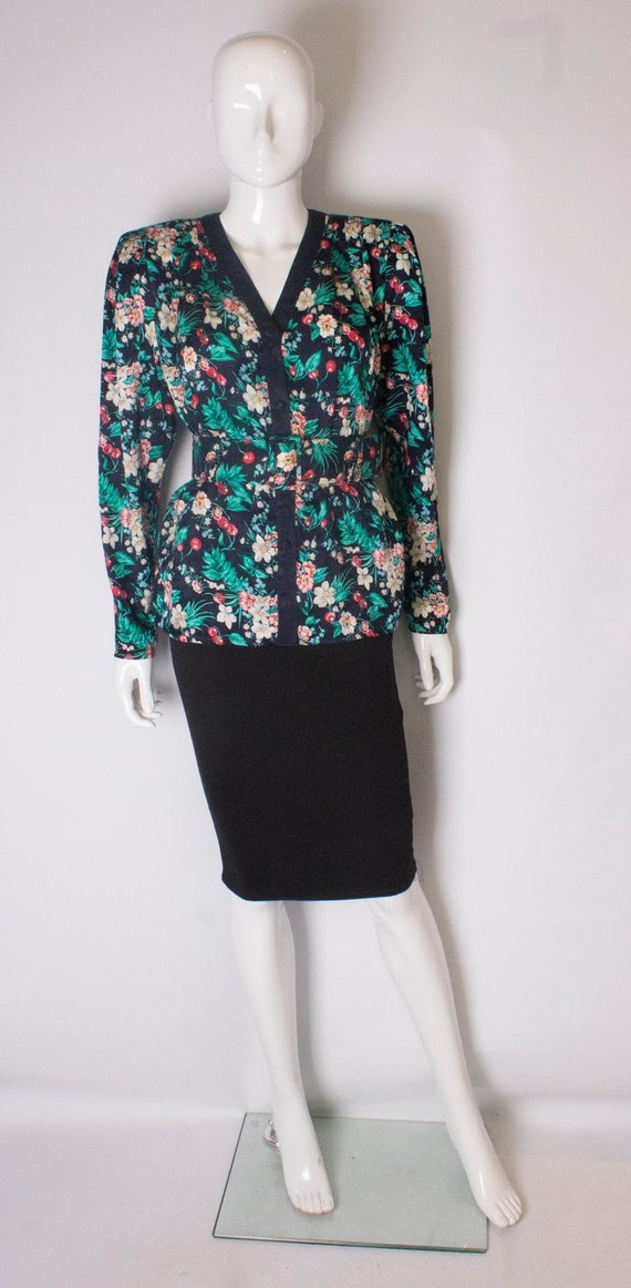 Vintage 1980s silk floral printed jacket with matc