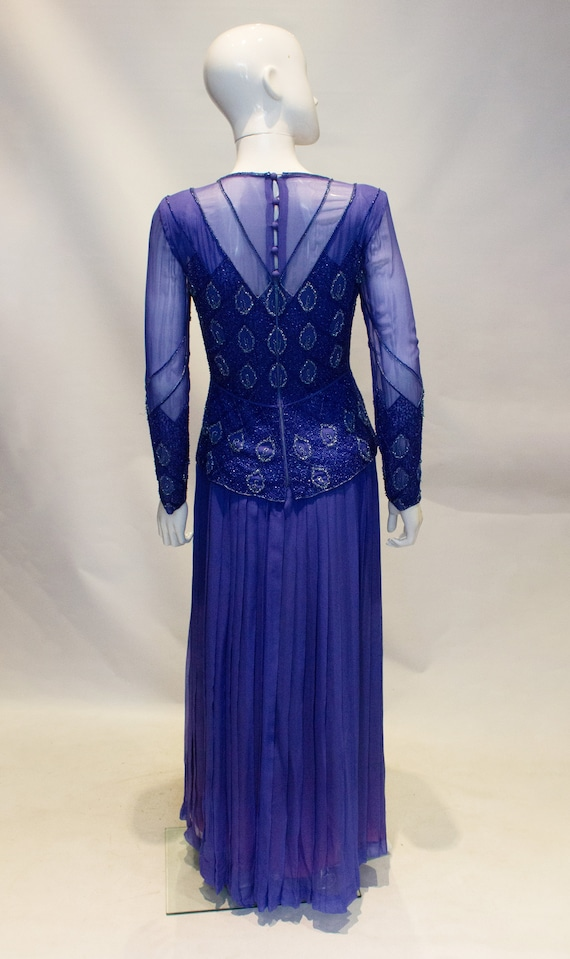 Vintage Norman Hartnell Evening Gown with Beading. - image 7