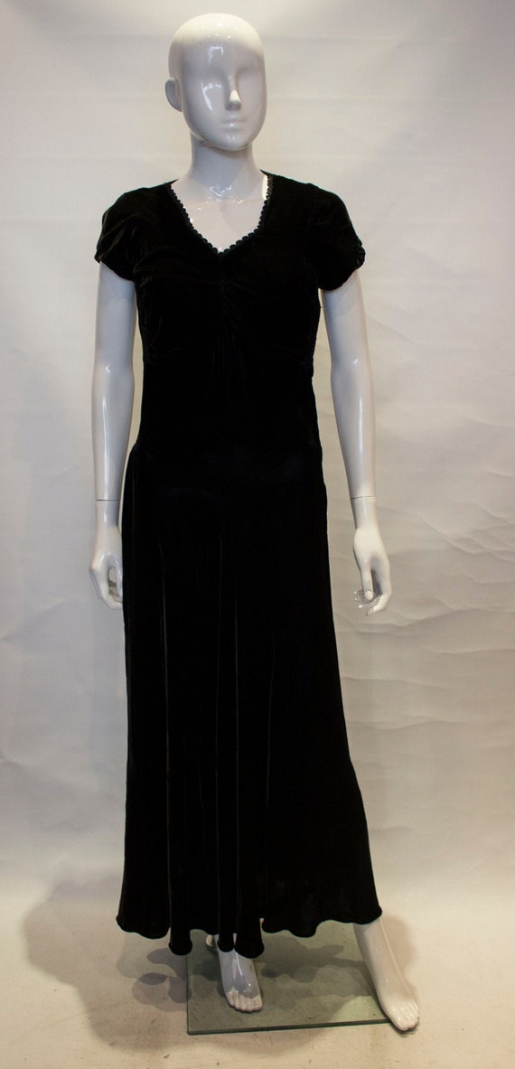 A Vintage 1940s Black Velvet evening gown Dress
