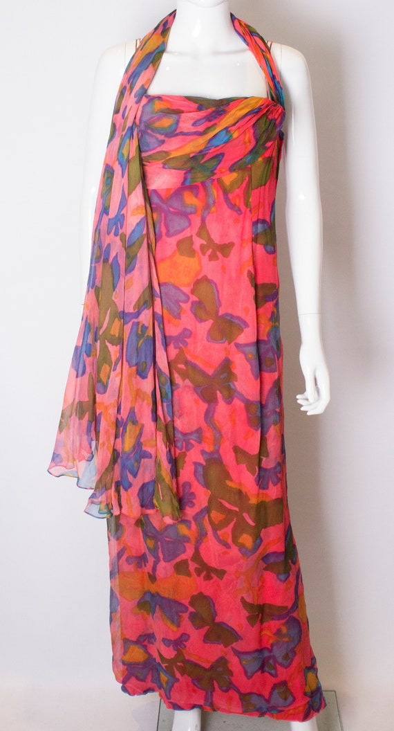 A Vintage 1970s Malcolm Starr Silk printed Gown