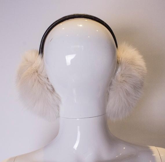 A Vintage 1990s white Fox Fur Ear Muffs - image 3