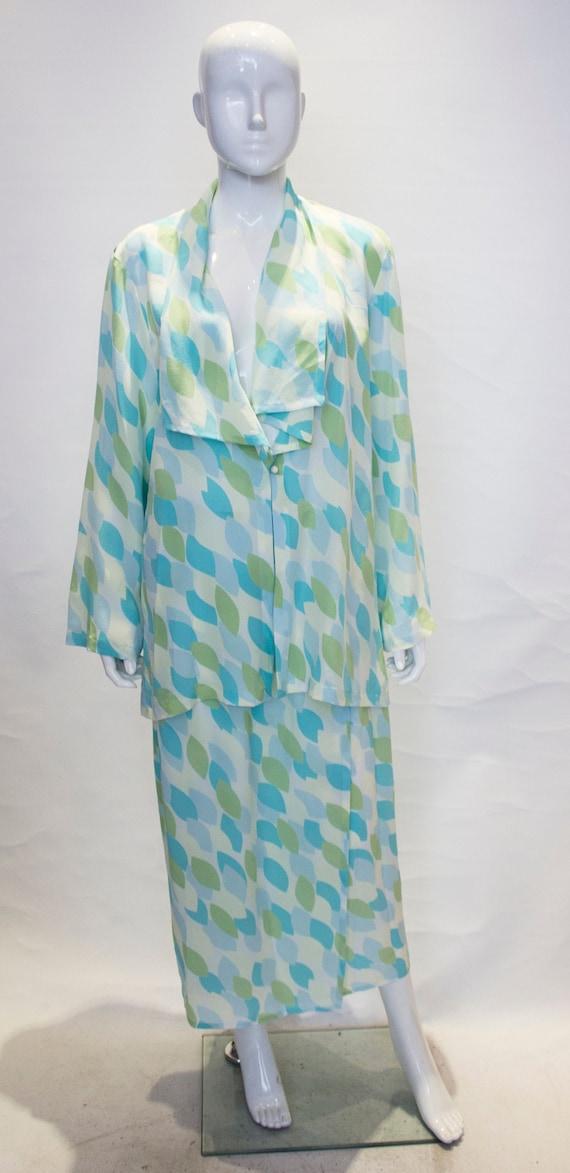 A Vintage 1980s Jean Muir Silk Skirt Suit