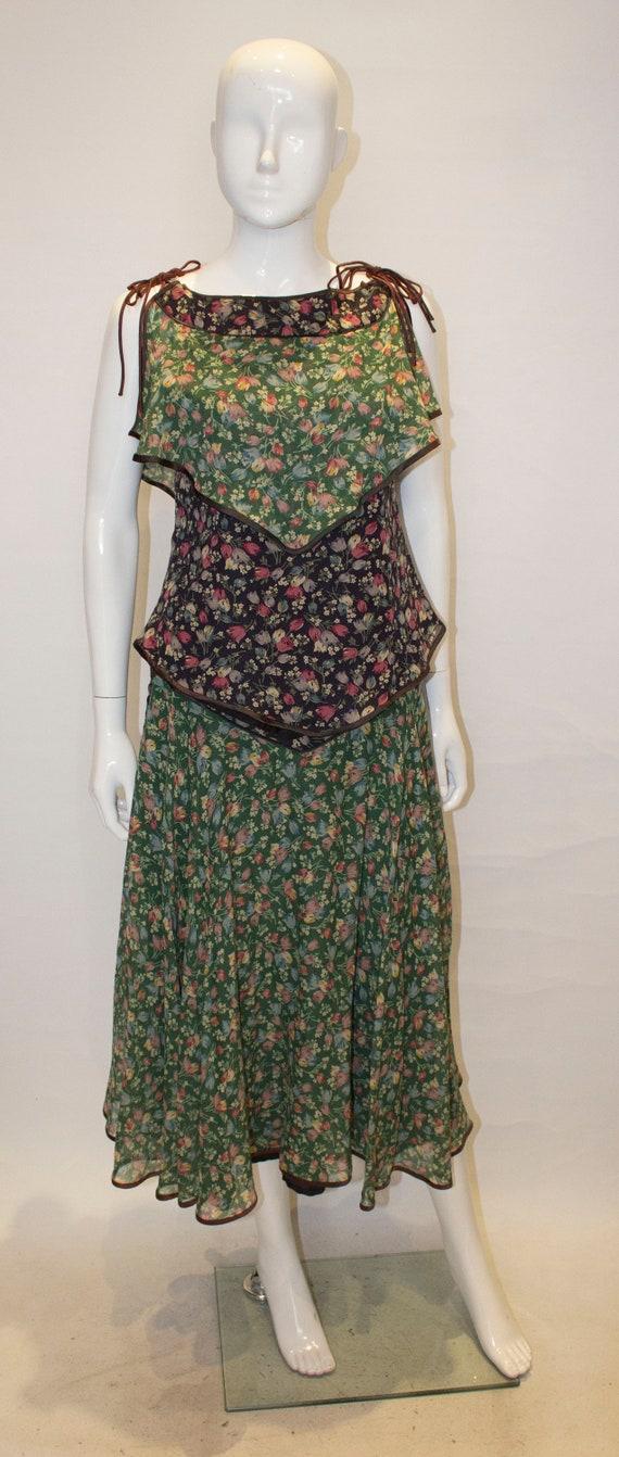 A Vintage 1970s Anna Belinda Floral Skirt and Top