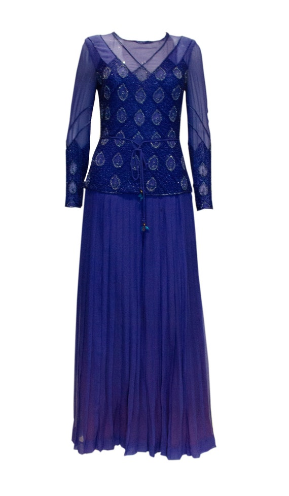 Vintage Norman Hartnell Evening Gown with Beading.