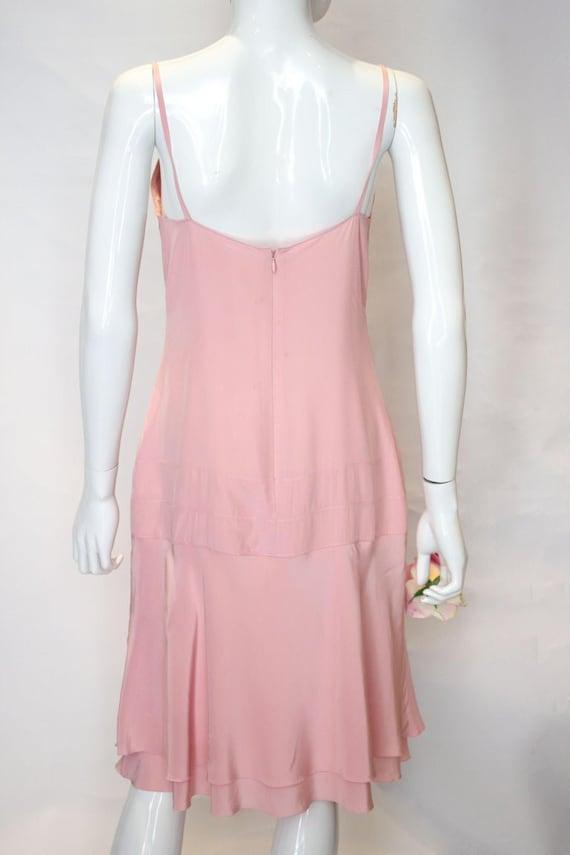 A Vintage 1990s Chanel Pink Silk Slip Dress - image 6