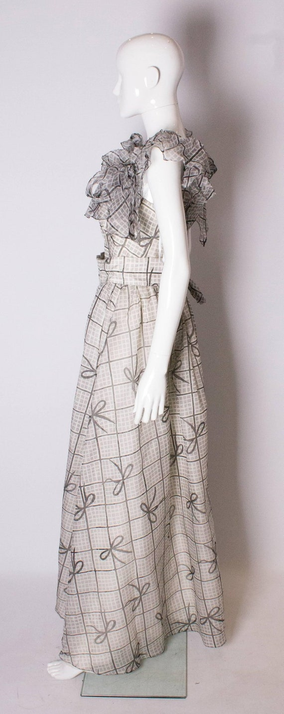 A Vintage 1970s grey printed silk evening gown by… - image 5