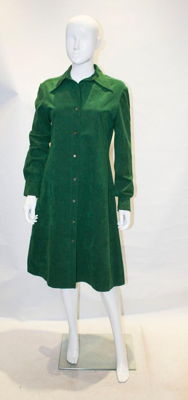 A Vintage 1970S green Halston Ultrasuede Shirt Dre