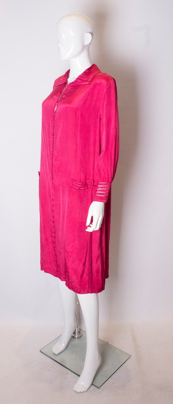 A Vintage 1920s silk Pink day Dress - image 2