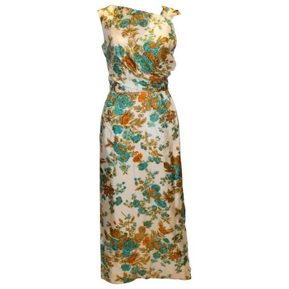 A Vintage 1950s Long Floral Evening Gown
