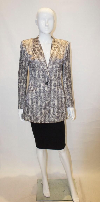 A Vintage 1980s Grey and White Escada Jacket
