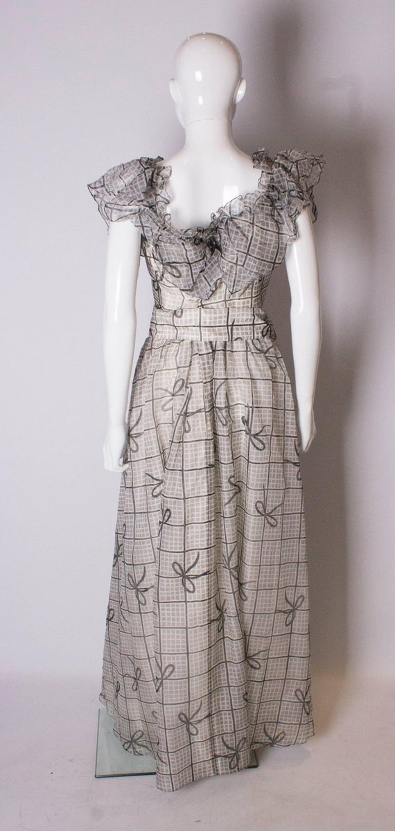 A Vintage 1970s grey printed silk evening gown by… - image 7