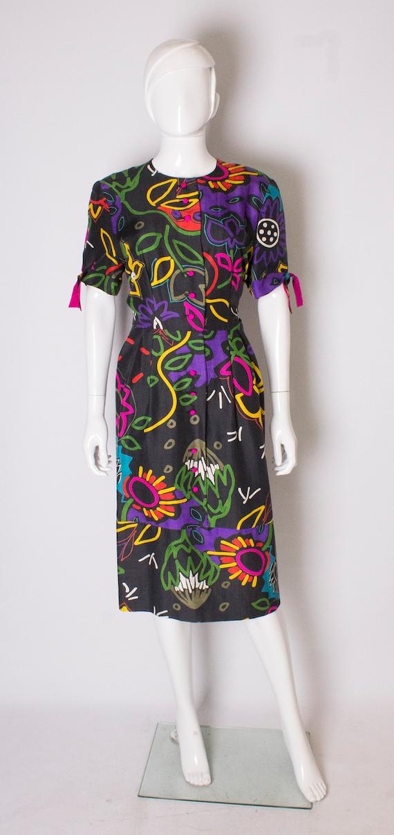 Vintage Silk Abstract Printed Vintage Dress