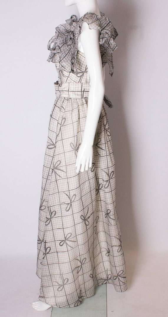 A Vintage 1970s grey printed silk evening gown by… - image 6