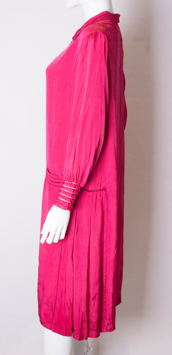 A Vintage 1920s silk Pink day Dress - image 4