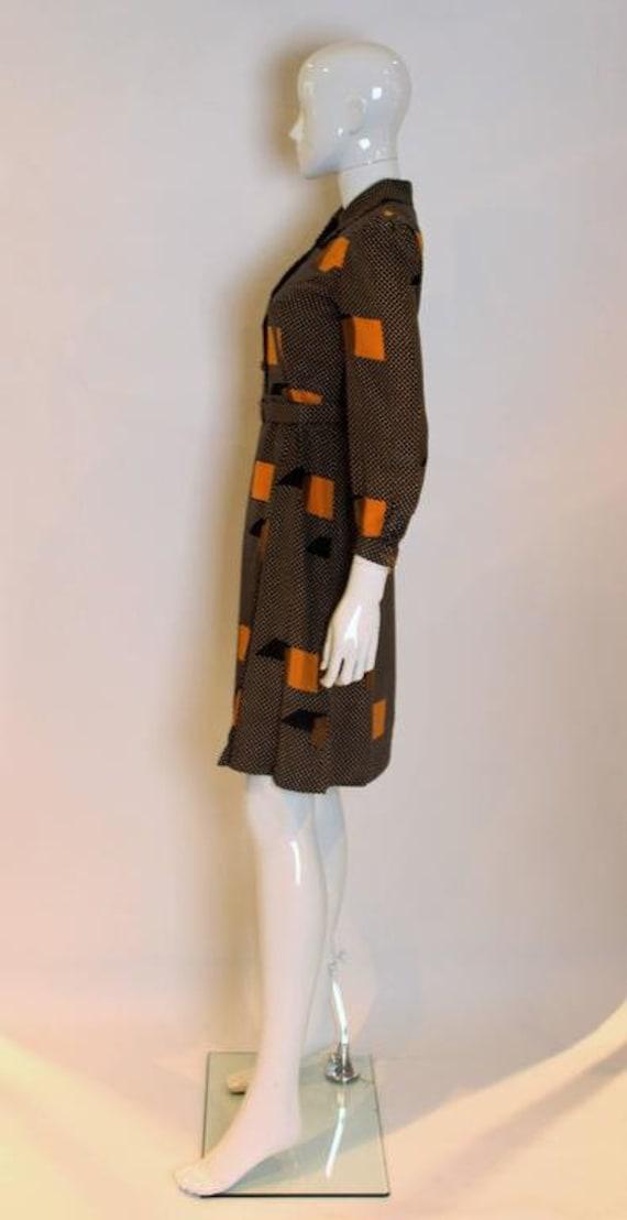 A Vintage 1970s polka dot spot Silk Shirt Dress - image 4